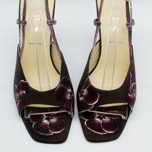Prada Brown Slingback Floral Print Heels Size 8.5